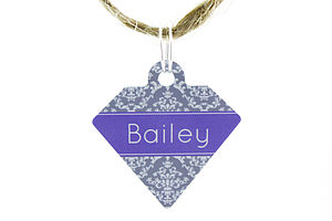 Personalised Pet Id Diamond Tag Floral Damask - pets