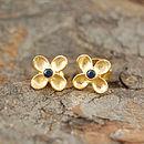 Blue Sapphire Birthstone Flower Earrings