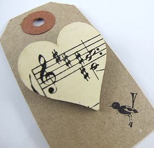 Heart Shaped Vintage Sheet Music Brooch - heart favours