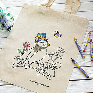 Puffin Design Colour In Tote Bag - children's accessories