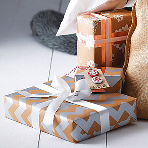 Metallic Chevron Christmas Gift Wrap Set - metallic christmas