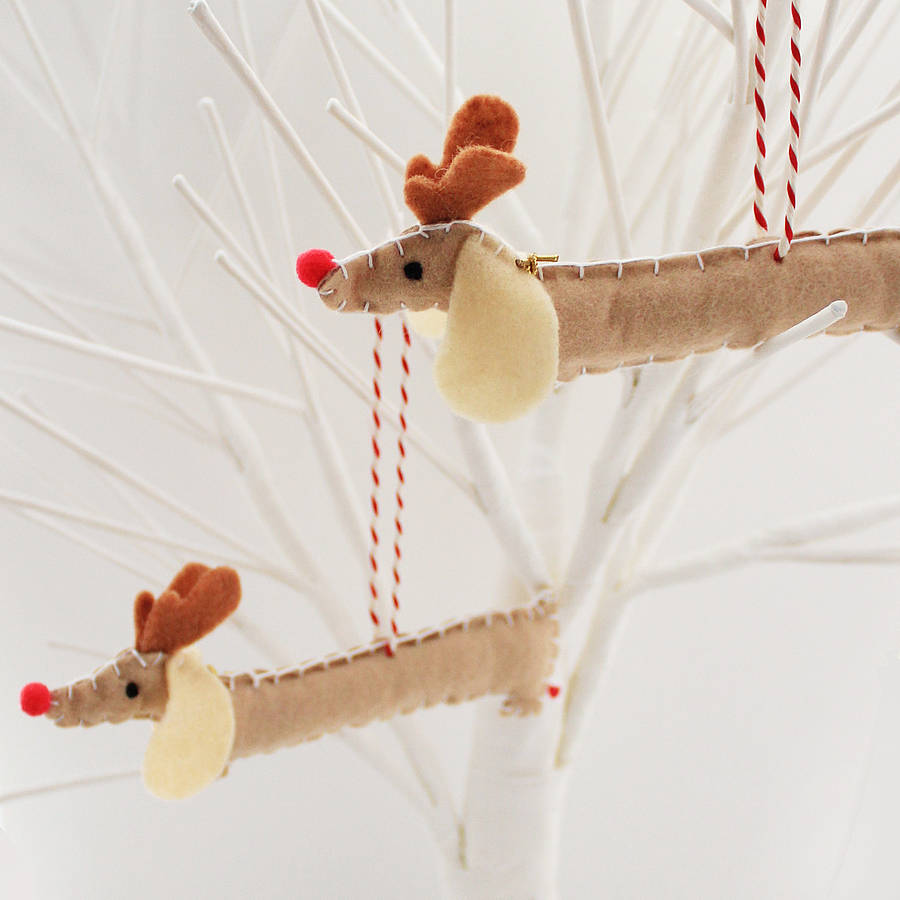 Set of two rudolf sausage dog decorations by miss shelly for Quirky ornaments