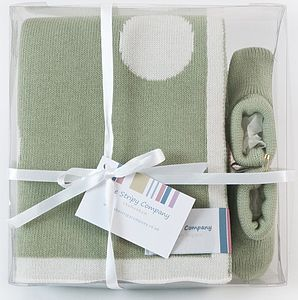 Cotton Polka Dot Blanket Gift Set