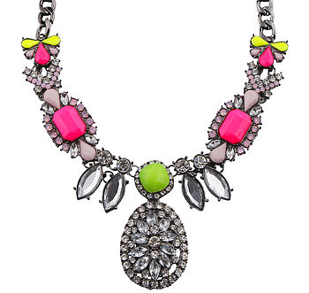 Sophia Silver And Neon Gem Necklace
