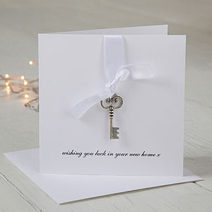 Personalised New Home With Key Charm Card - personalised