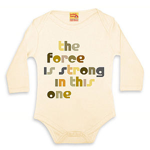 Film Quote Babygrows 'The Force Is Strong' - clothing
