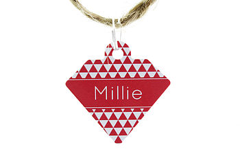 Personalised Pet Id Diamond Tag Triangle