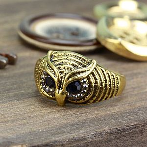 Brass Owl Face Ring - rings