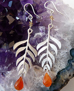 Kiki Leaf earrings with Carnelian
