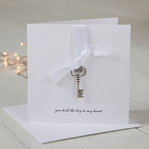 Personalised Key To My Heart Card - valentine's cards