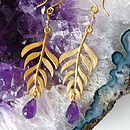Kiki Leaf earrings with 18ct Yellow Gold Plate and Amethyst