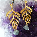 Kiki Leaf Earrings with 18ct Yellow Gold Plate and Grey Quartz