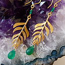 Kiki Leaf Earrings with 18ct Yellow Gold Plate and Green Onyx