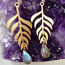 Kiki Leaf Earrings with 18ct Yellow Gold Plate and Labradorite