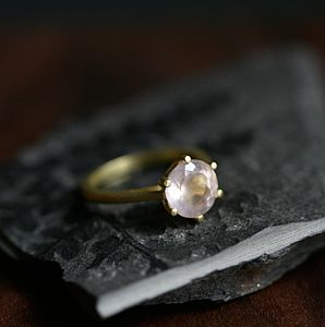 Gold Rose Quartz Gemstone Ring - rings