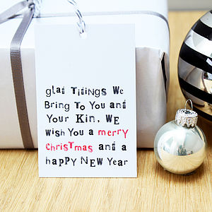 'Glad Tidings We Bring…' Christmas Gift Tags - ribbon & wrap