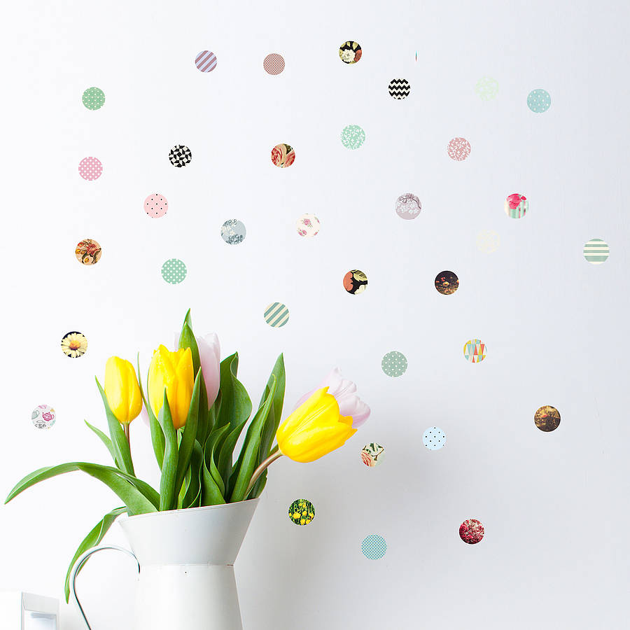 patterned polka dots wall sticker set by oakdene designs summer polka dot wall sticker set stuckup