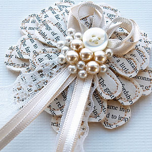 Lace and Pearl Literary Corsage