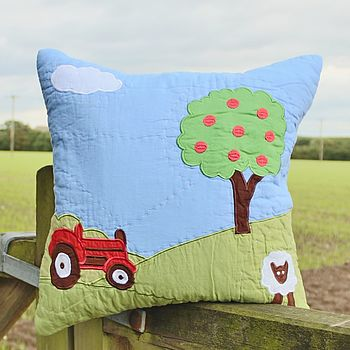 Red Tractor Farm Cushion Cover