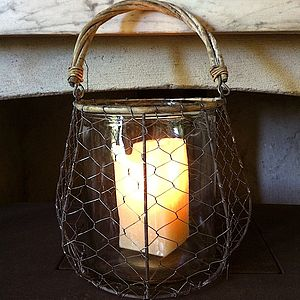 Large Wire And Glass Lantern - garden sale