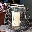 Large Wire And Glass Lantern