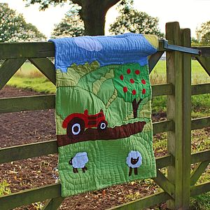 Red Tractor Boys Farm Cot Quilt - bedspreads & quilts