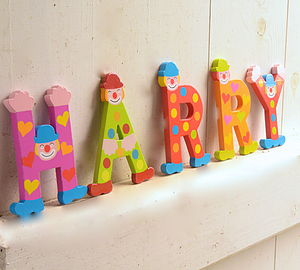 Wooden Alphabet Clown Letters - decorative accessories