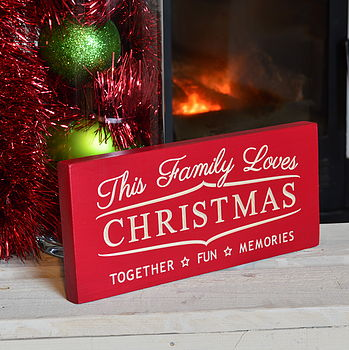 Engraved family christmas sign