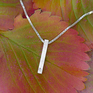 Diamond Silver Bar Necklace - women's jewellery