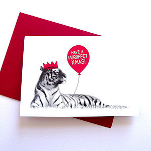Christmas Party Animal Tiger Card - cards