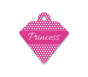 Personalised Pet Id Diamond Polka Dot Design