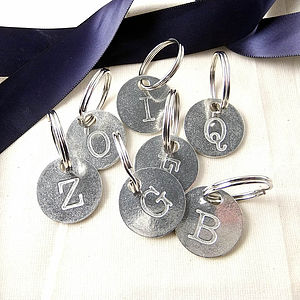 Personalised Initial Pewter Disc Keyring - keyrings
