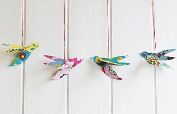Set Of Three Hanging Love Bird Decorations