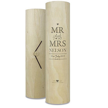 Personalsied Wooden Wine Gift Cylinder