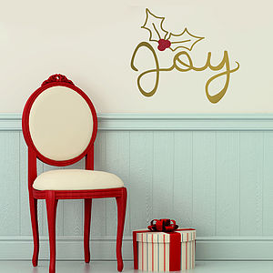 'Joy Christmas' Gold Wall Sticker