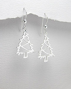 Sterling Silver Christmas Tree Earrings - earrings