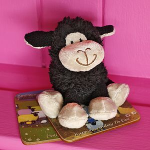 Mini Black Fluffy Lamb Soft Toy - soft toys & dolls