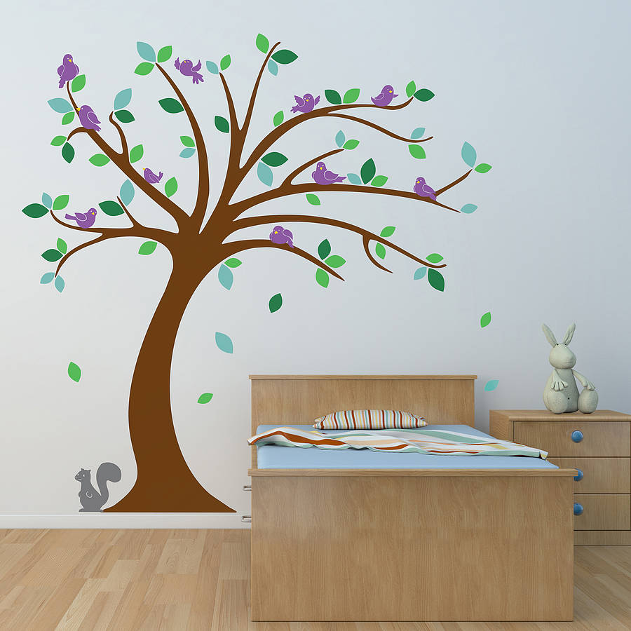 Childrens Tree Wall Stickers Set By Oakdene Designs - Kids tree wall decals