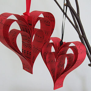 Handmade Red Sheet Music Heart Decoration - tree decorations