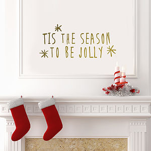 Gold 'Tis The Season' Wall Sticker - bedroom