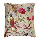 Velvet Bird And Flower Cushion