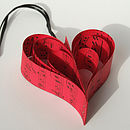 Handmade Red Sheet Music Heart Decoration