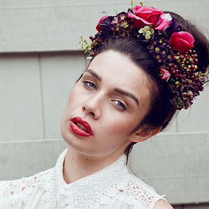Agnes Oversized Floral Berry Crown Headband
