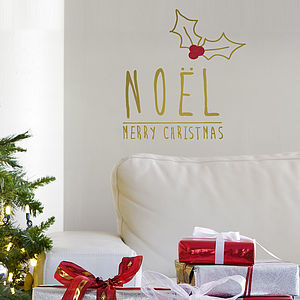 Gold 'Noël' Christmas Wall Sticker - wall stickers