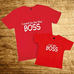 Father And Child Red Or Pink Boss T Shirt Set - children's dad & me sets