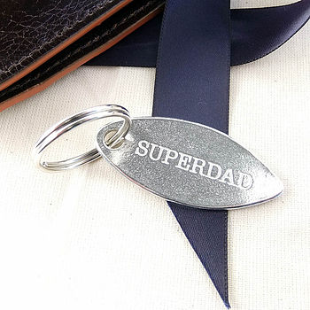 'Superdad' Oval Pewter Key Ring