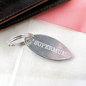 Super Mum Oval Pewter Key Ring - keyrings