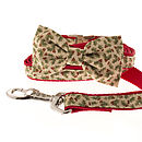 Holly Sprig Bow Tie Dog Collar