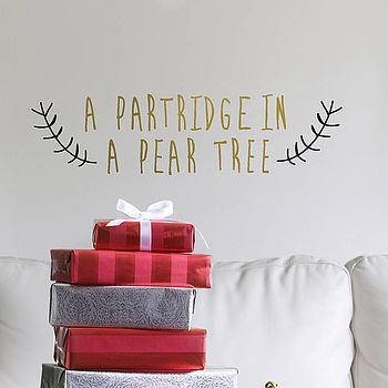 Gold 'Partridge In A Pear Tree' Wall Sticker