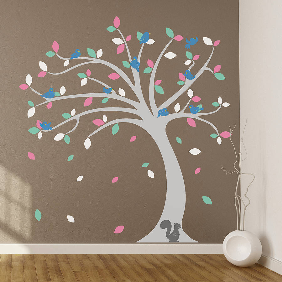 children s tree wall stickers set by oakdene designs children s woodland animal and tree wall sticker set